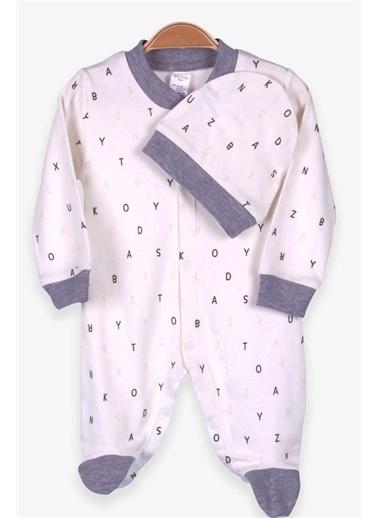 Breeze Erkek Bebek Tulum Alfabe Desenli Şapkalı Set Ekru (0-3-4 Ay) Ekru